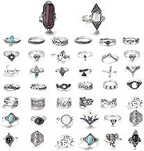 FIBO STEEL 42-101 Pcs Vintage Knuckle Rings for Women Stackable Midi Finger Ring Set