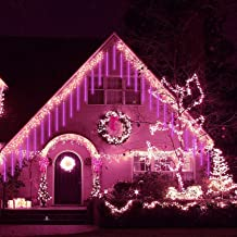 Meteorenregen regenlicht, 80cm 8 buizen Waterdichte waterval LED ijspegel sneeuw vallende kerstlicht voor feest, boom, bru...