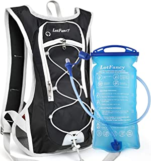 LotFancy Hydration Backpack with 2L Bladder (BPA Free), Leakproof Camel Backpack for Running Cycling Hiking Climbing Race Festival Skiing Walking, Water Hydration Pack for Women Men Kids