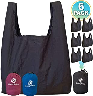 Reusable Shopping Bags Foldable Washable Set In One Convenient Pouch - Extra Large Heavy Duty Reusable Grocery Bags - Light Weight and Eco Friendly - XL Grocery Tote Bag - Multi Use Black 6 Pack