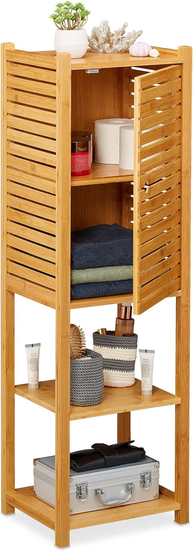 Relaxdays Badregal aus Bambus, 20 Böden, mit Tür, stehend, Bad ...