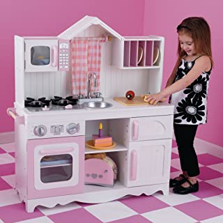 KidKraft 53222 Modern trä låtsas leka leksak kök för barn, vit och rosa