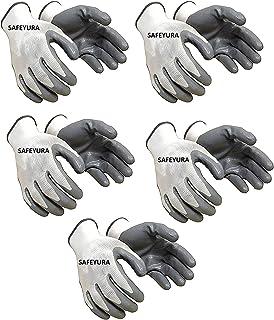 SAFEYURA Nylon Anti Cut Safety Hand Glove -5 Pairs Color- White Grey Size-Large
