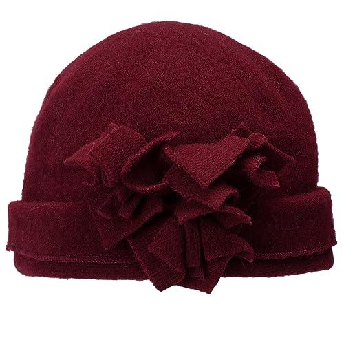da65b6df269 Lawliet Womens 1920s Gatsby Wool Flower Beanie Cloche Crochet Cap Hat A388