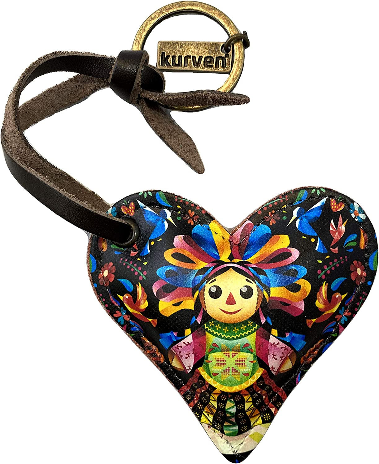 Kurven Leather Keychain Cute Mexican Doll Black Alebrije Heart Shaped With Metal Ring And Brilliant Colours…