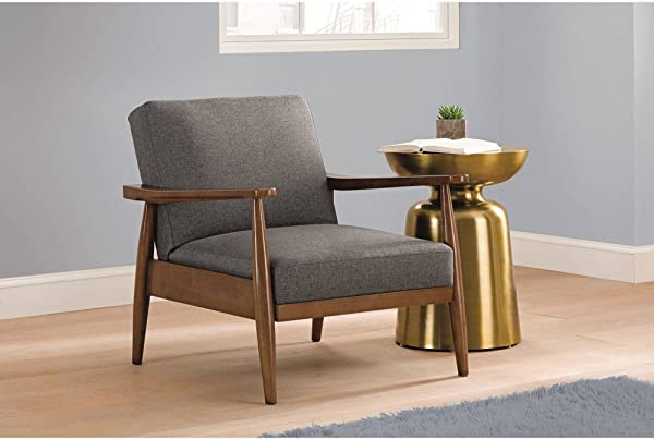 Better Homes And Gardens Mid Century Chair Wood With Linen Upholstery