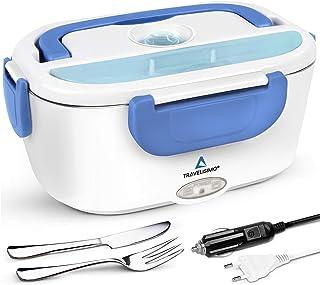 TRAVELISIMO Lunch Box Gamelle Chauffante Électrique pour Voiture Camion Bureau Travail 220V+12V, Chauffe en Quelques Minut...