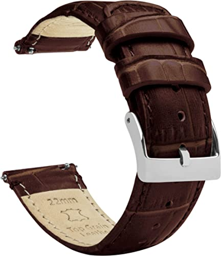 Barton Bracelet de montre en cuir imitation croco à libération rapide - Couleurs, longueurs et largeurs au choix