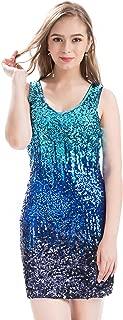 Women's Sexy V Neck Sequin Glitter Bodycon Stretchy Club Mini Party Dress