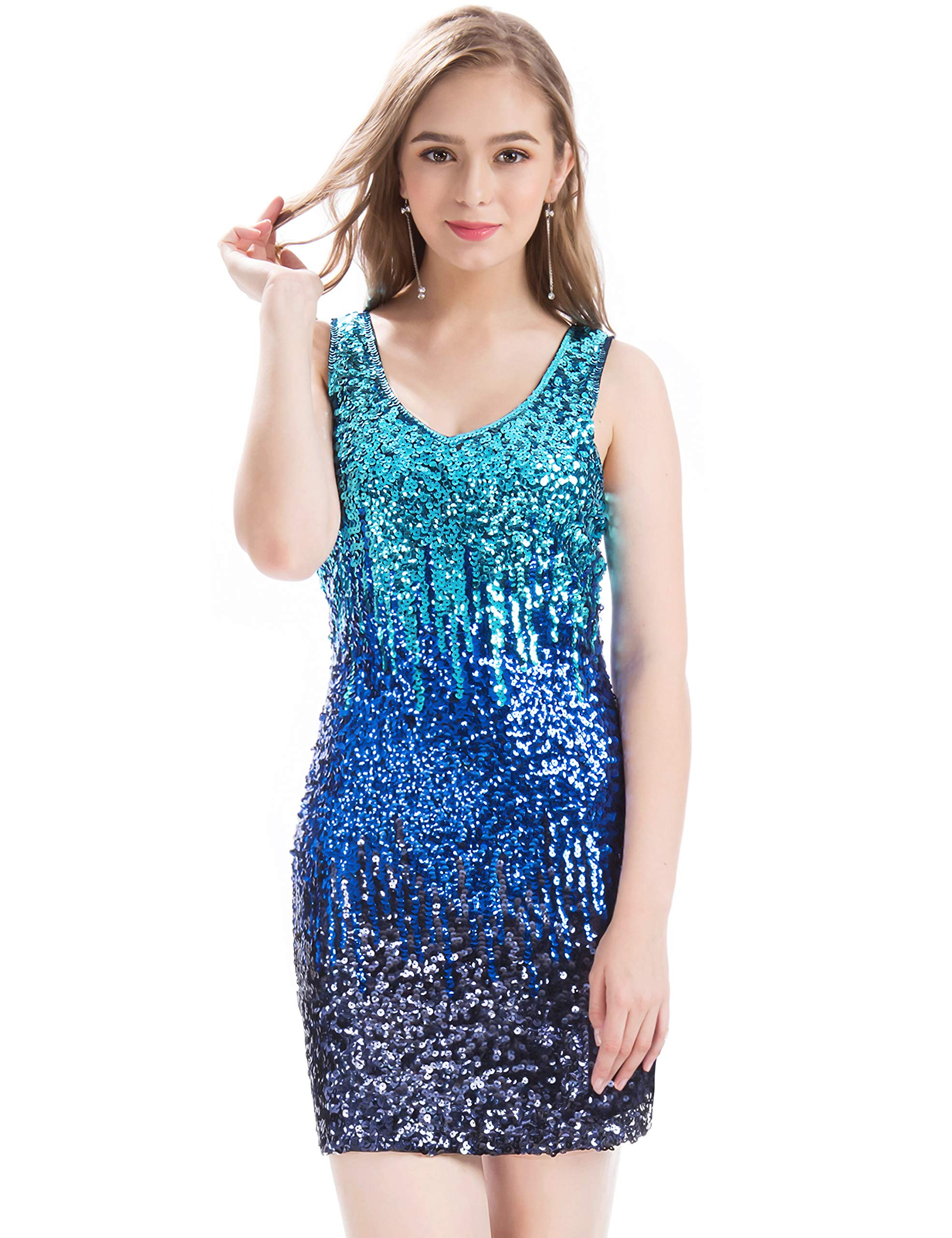 Available at Amazon: MANER Women's Sexy V Neck Sequin Glitter Bodycon Stretchy Club Mini Party Dress
