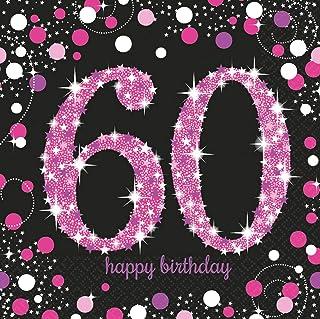 amscan 9900619 60th Birthday Glittery Pink Luncheon Napkins-33cm-16 Pcs