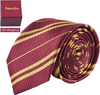 Besmon Striped Tie For Cosplay Magic Costume Halloween Christmas Party,As a Gift For Daily Use (Red+Gold)