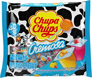 Chupa Chups Mini Lollipops, 40 Candy Suckers for Kids, Cremosa Yogurt, 2 Assorted Creamy Flavors, for Gifting, Parties, Of...