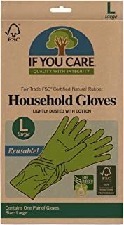 IF YOU CARE Cotton Flock Lined Household Gloves, Large