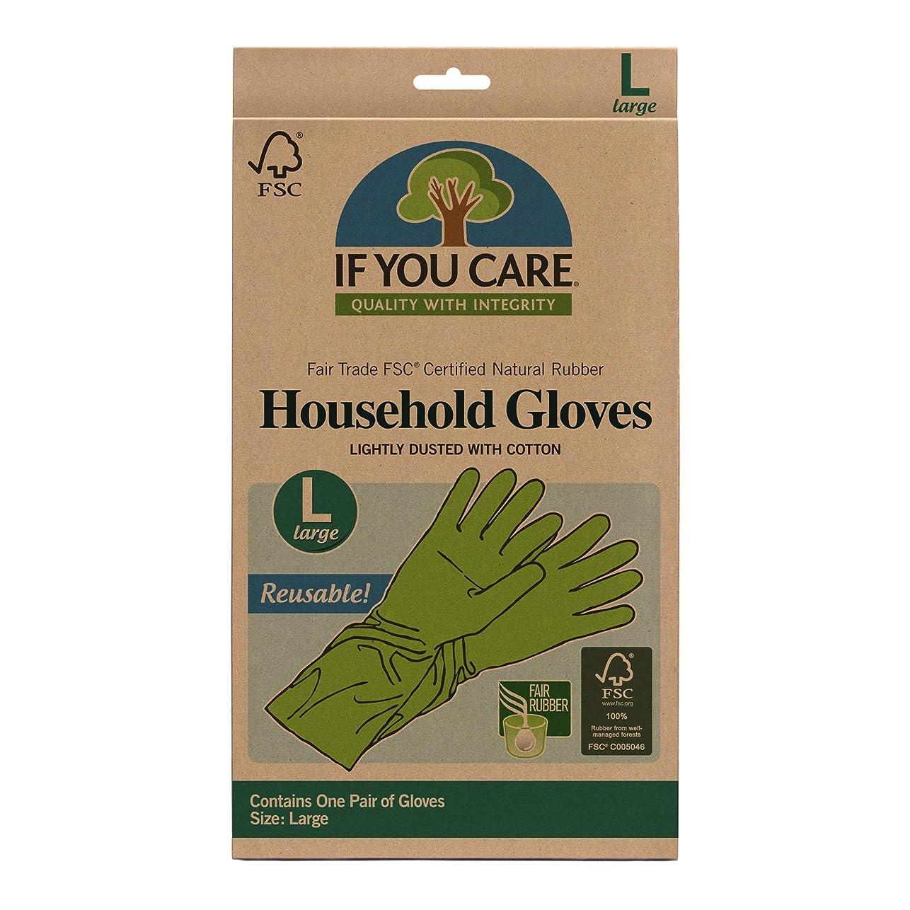 黒くする未満モーション海外直送品Household Gloves Latex Cotton Flock Lined, Large 1 PAIR by If You Care