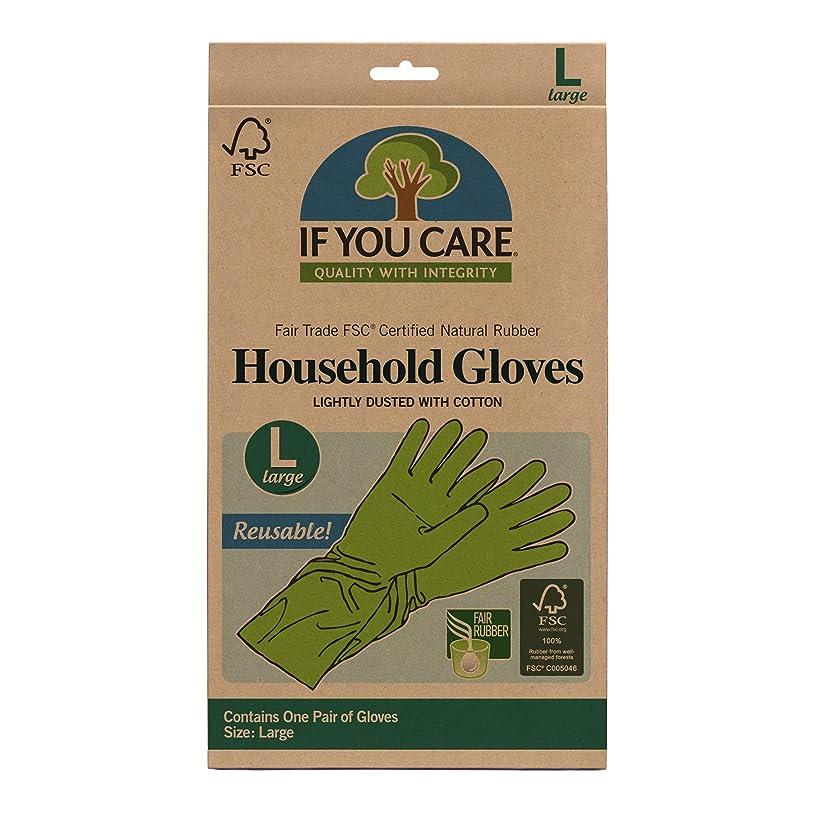 ウイルス放置割れ目海外直送品Household Gloves Latex Cotton Flock Lined, Large 1 PAIR by If You Care