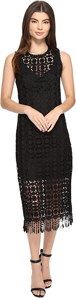 Sleeveless Dress w/ Fringe Hem