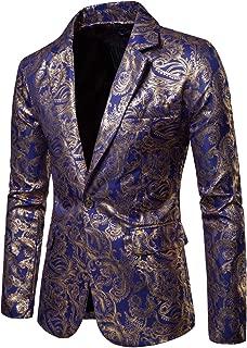 Coofandy Men's Floral Suit Jackat Luxury Stylish Slim Fit Dinner Blazer One Button Sport Coat