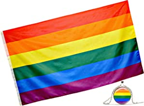 Eugenys Rainbow Flag (3x5 Feet) - Free Nice Bonus Included - 100% Super Polyester Material - Large Gay Pride Flag with Brass Grommets - Perfect Banner for Hanging Indoor/Outdoor