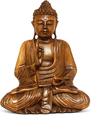 """G6 Collection Wooden Serene Sitting Buddha Statue Handmade Meditating Sculpture Figurine Decorative Home Decor Accent Rustic Handcrafted Art Traditional Modern Contemporary Oriental Decor (8"""" Tall)"""