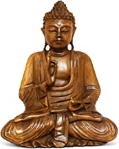"G6 Collection 16"" Large Wooden Serene Sitting Buddha Statue Handmade Meditating Sculpture Figurine Decorative Home Decor A..."