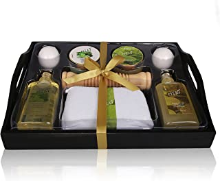 Christmas Gift For Her Spa Gift Basket Refreshing Fragrance Enriched with Natural Argan Oil, Perfect Wedding, Birthday or Anniversary Gift, Bath gift Set Includes 8pc Spa Set (Peppermint Argan Oil)