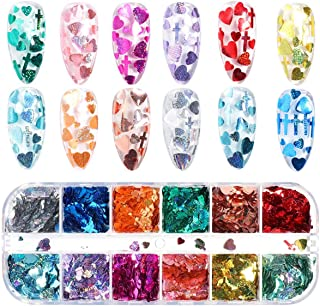 VOLODIA Heart Nail Art Sequins Sparkly Laser Glitter Red Pink Love Flakes Mermaid Mirror Flakes For Manicure Nail Accessories