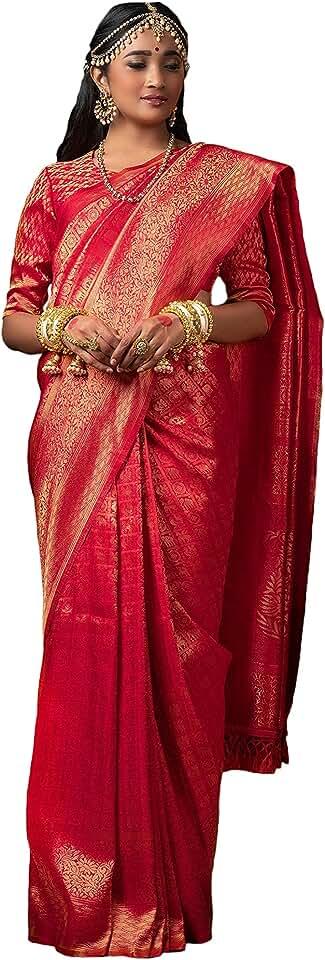 Indian Wear Affair Women Pure Kanjivaram Silk Saree With Golden Jari Border Saree
