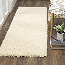 Banchmark Home Furnishings Luxury Polyester Soft Indoor Modern Shag Area Rugs and Runner with Feather Touch for Dining Room, Living Room (2ft x 6ft = Runner, Ivory)