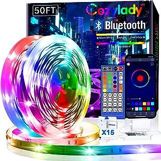 Cozylady Bluetooth LED Strip 15m, Smart APP Steuerbar Musik LED Lichterkette Farbwechsel LED Streifen, 5050 RGB LED Leiste...