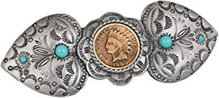 Indian Head Penny Coin Pewter Western Hair Barrette | Genuine United States One Cent Coin | Hair Accessory | Certificate o...