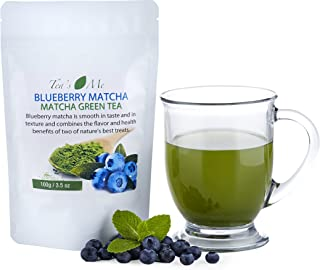 Blueberry Matcha Green Tea Powder Organic Japanese Culinary Matcha Tea w/Natural Blueberry Extract- Great for Tea, Smoothies or Sweet Latte - 3.5 oz