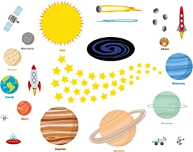 treepenguin Solar System Space Wall Decals for Kids Rooms – Large Planets and Stars Stickers for Bedroom Playroom and Nursery – Educational Wall Decor for Boys and Girls