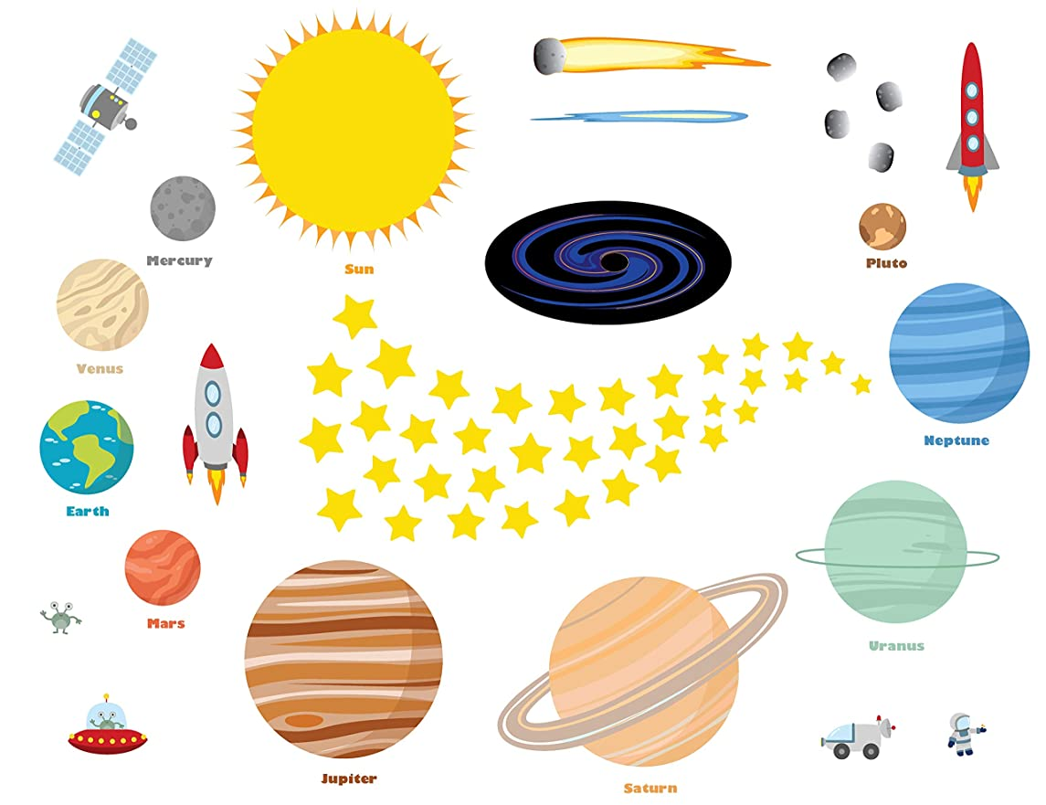 treepenguin Solar System Space Wall Decals for Kids Rooms – Large Planets and Stars Stickers for Bedroom Playroom and Nursery – Educational Wall Decor for Boys and Girls rwvugntrfojjow