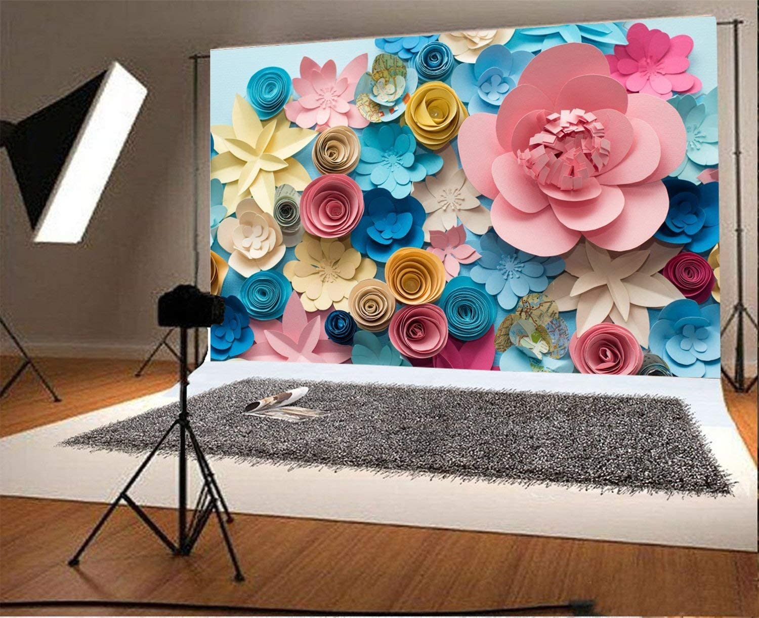 15x10ft Paper Flowers for Baby Shower Backdrop Adults Kids Girls Portrait Birthday Party Events Photoshoot Prop Wallpaper 3D Flower Wall Floral Photography Background Cloth Photo Studio Props