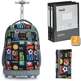 Tilami Rolling Backpack 18 inch Binder and Pencil Case Laptop Backpack, Balls