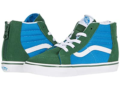 Vans Kids Sk8-Hi Zip (Infant/Toddler) ((Two-Tone) Mediterranian Blue/Greener Pastures) Boys Shoes
