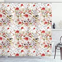 Ambesonne Flower Shower Curtain, Hand Drawn Romantic Flowers and Leaves Spring Season Blossoms Garden Vintage Style, Cloth Fabric Bathroom Decor Set with Hooks, 70