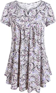 Women's Short Sleeve Split V Neck Floral Printed Pleated Tunic Tops