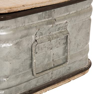Glitzhome Set/2 Farmhouse Metal Storage Nesting Boxes with Wooden Lids Galvanized Storage Chests Small and Large