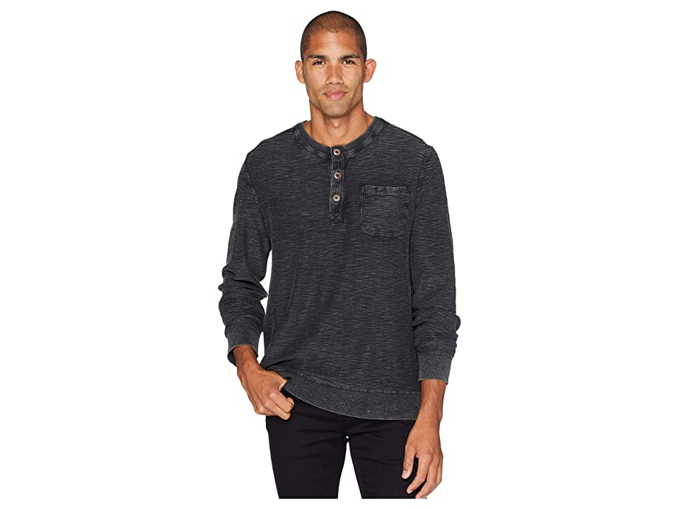 Lucky Brand Welter Weight Washed Henley (Jet Black) Men