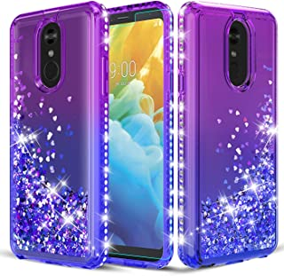 TGOOD LG Stylo 4 Glitter Case,LG Stylo 4 Plus/LG Q Stylus Phone Case with Tempered Glass Screen Protector,Liquid Quicksand Sparkle Floating Bling Bling Diamond Phone Cover for Girls Women,Purple/Blue