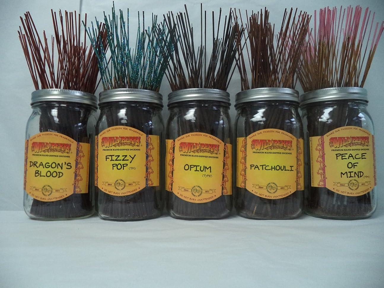 信条宝石巨大なWildberry Incense Sticks Best Seller Set #1: 20 Sticks Each of 5 Scents, Total 100 Sticks!
