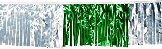 Worldwide Flags & PENNANTS 60 ft Double-Stitched Green/Silver Hurricane Metallic Fringe Pennant - Perfect for Cinco de Mayo!