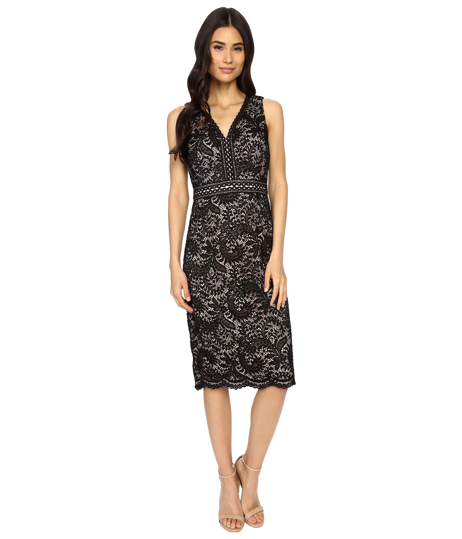 Maggy london sleeveless illusion-lace dresses