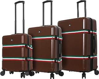 Mia Toro Italy Nastro Hard Side Spinner Luggage 3 Piece Set, Brown