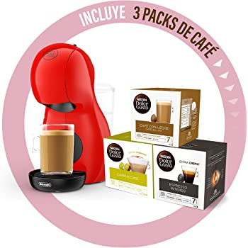 Dolce Gusto Piccolo XS EDG210.R - Cafetera de cápsulas con 15 bares de presión, 0.8L, con tres packs de café, color rojo: Amazon.es: Hogar