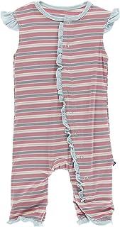 Kickee Pants Print Ruffle Tank Romper India Dawn Stripe