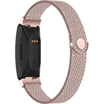 POY Compatible with Fitbit Inspire Hr Bands, Stainless Steel Replacement for Fitbit Inspire and Ace 2 Metal Loop Bracelet Sweatproof Wristbands for Women Men Rosepink Small