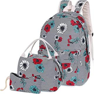 School Backpack for Teen Girls, Teenagers School Bags Bookbags with Lunch Box Pencil Case